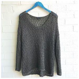 Eileen Fisher Open Knit Metallic V Neck Pullover